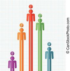 vector, symbolen, van, mensen