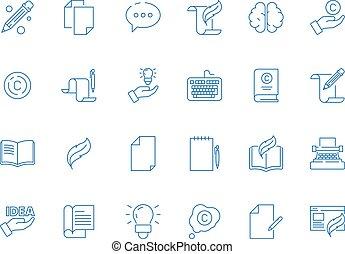 vector, symbols., eenvoudig, ideeën, hand, pen, schrijvers,...