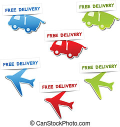 Vector symbols for delivery - car, airplane