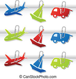 Vector symbols for delivery - car, airplane, ship