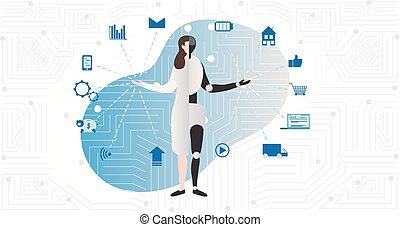 vector, symbols., machine., ai, inteligencia, mitad, robot,...