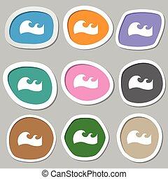 vector, symbols., multicolor, papel, ondas, stickers., icono