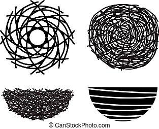 vector symbols of bird nests