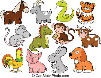 Vector animals - symbols of chinese horoscope