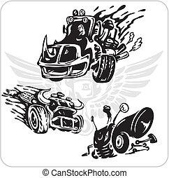 Vector Symbols set for Trucks and Cars - Crazy Drivers - ...