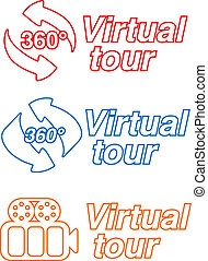 Vector symbols - signs for virtual tour