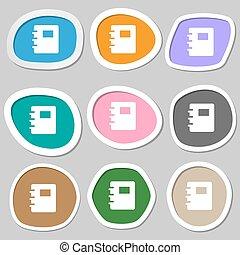 vector, symbols., veelkleurig, papier, stickers., boek, pictogram