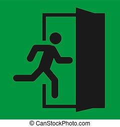 vector, symbool., evacuatie, man, deur, helpen, rennende , teken., veiligheid, ontsnapping, afslaf, pictogram