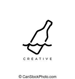 vector, symbool, fles, boodschap, logo, ontwerp, pictogram