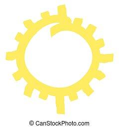 vector, symbool, illustratie, zon