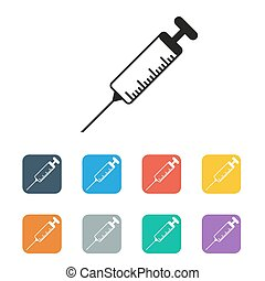 vector syringe icon set colored