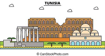 vector, túnez, silueta, señal, edificios, ilustración, ...