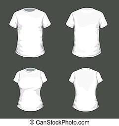 Vector Set with White T-shirt Design Template