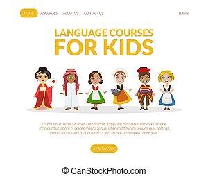 vector, taal, geitjes, meiden, kostuums, koersen, jongens, traditionele , tussenverdieping, pagina, illustratie, mal, schattig