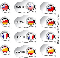 vector, taal, wijzer, voor, web, -, toespraak, bellen