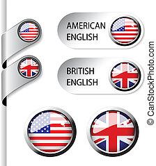 vector, taal, wijzers, met, vlag, -, amerikaan, en, brits,...