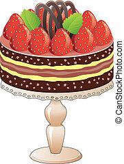 vector, taart, op, een, stander, met, aardbei, en, chocolade