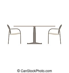 Vector table chair two flat icon isolated. Restaurant furniture side view illustration.
