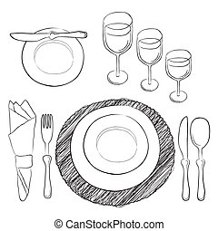 Vector table setting. White and clear tableware and eating utensils are set at the table for serving. Simply style place setting or table setting or laying a table) are for casual dining.