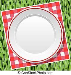 vector tablecloth and a plate