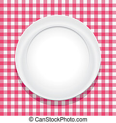 vector pink picnic tablecloth and empty plate
