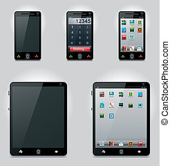 Set of the generic tablet computer and mobile phones (turned on and turned off) with related icons
