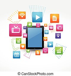 vector, tablet, iconen