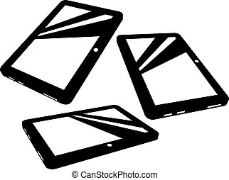 Vector tablet silhouettes on white background