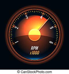 Vector tachometer. Glossy style modern unusual illustration