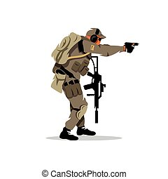 Vector Tactical shooting warrior Cartoon Illustration.