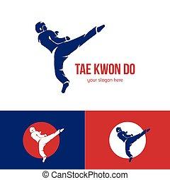 Vector taekwondo logo template. Martial arts badge. Emblem...