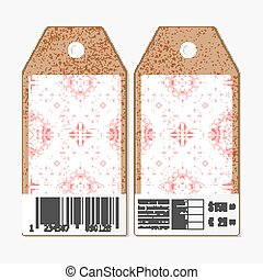 Vector tags design on both sides, cardboard sale labels with barcode. Ukrainian folk art. Traditional embroidery, ethnic pattern. Abstract texture
