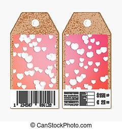 Vector tags design on both sides, cardboard sale labels with barcode. White paper hearts, red vector background, Valentines day decoration