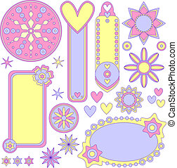 Vector tags, flowers, hearts