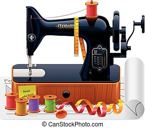 Detailed vector tailoring icon with old black sewing machine, thread spools, ribbons
