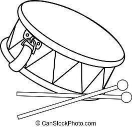 vector, tambor, juguete, drumsticks.