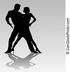 vector tango dancers silhouette