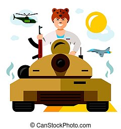 Vector Tankman. Russian military Army. The conflict in the Middle East. Flat style colorful Cartoon illustration.