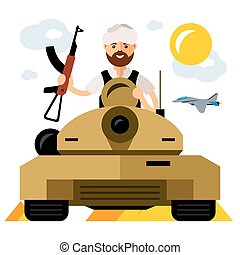 Vector Tankman, War in the Middle East. Flat style colorful Cartoon illustration.