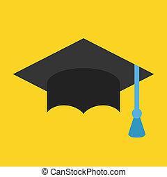 vector, tapa graduación, icono