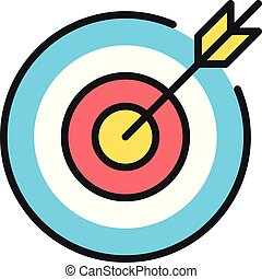 Vector target icon. Objective, business idea, mission, bull's eye concepts. Target and arrow. Premium quality graphic design element. Modern sign, linear outline symbol. Simple thin line icon