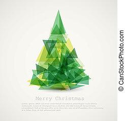 vector, tarjeta, con, resumen, verde, árbol de navidad