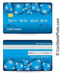 vector, tarjeta de crédito, frente, y, espalda