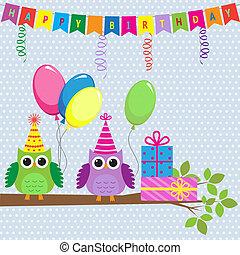 vector, tarjeta de cumpleaños, con, lindo, búhos