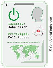 vector, tarjeta, icon., identificación, ilustración