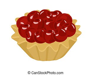 vector, tartlet, cream., ilustración, fondo., cerezas, ...