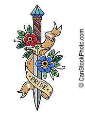 Vector tattoo dagger with flowers and ribbon. Ancient oriental dagger decorated with large sapphire. Lettering Pride.