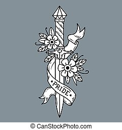 Vector tattoo dagger with flowers and ribbon. Pride