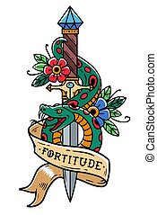 Vector tattoo dagger with green snake, flower, ribbon and lettering Fortitude. Snake wraps around old dagger. Old school