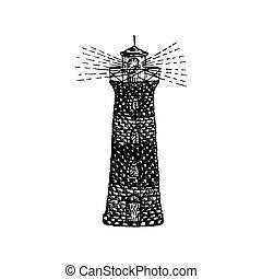 vector tattoo lighthouse illustration
